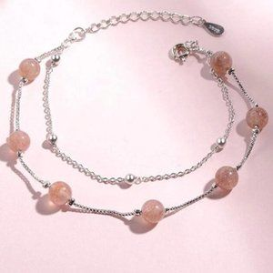 NEW 925 Sterling Crystal Double Layer Bracelet